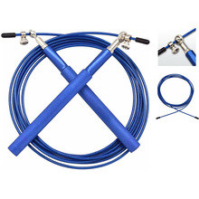 Blue Professional Jump Rope Crossfit Adjustable Sports Gym Wire Single Aluminum Skipping High Speed Fitness Training