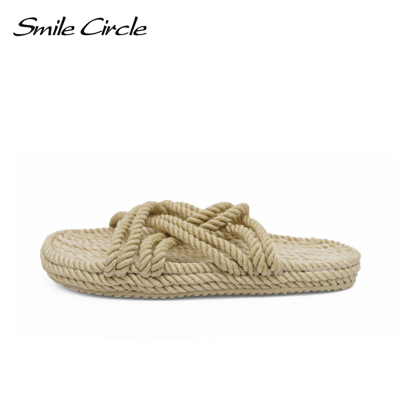 Smile Circle slippers women summer Fashion Handmade hemp rope Indoor outdoor beach Shoes for women flat sandals 2018 2016 summer women flat platform slippers fashion hemp rope insole ladies genuine leather buckle sandals designer espadrilles