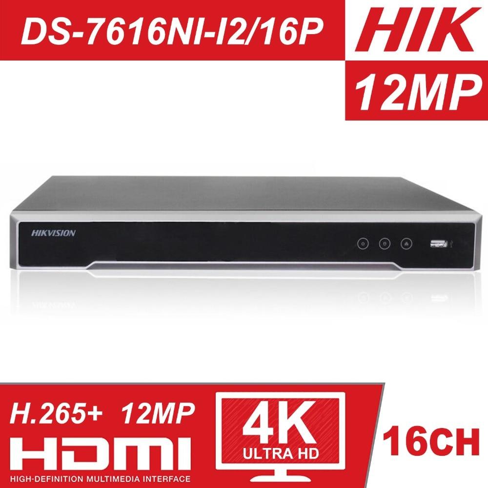 D'origine HIK H.265 4 K NVR 16CH DS-7616NI-I2/16 P Professionnel POE NVR pour système de caméra cctv HDMI VGA Plug & jouer NVR
