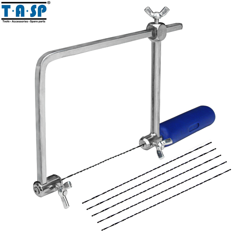 "TASP 4"" Multifunction Fretsaw Hand Coping Saw Jig Saw Frame Hobby Woodworking Tools With 6pcs Spiral Blades -MASB50"