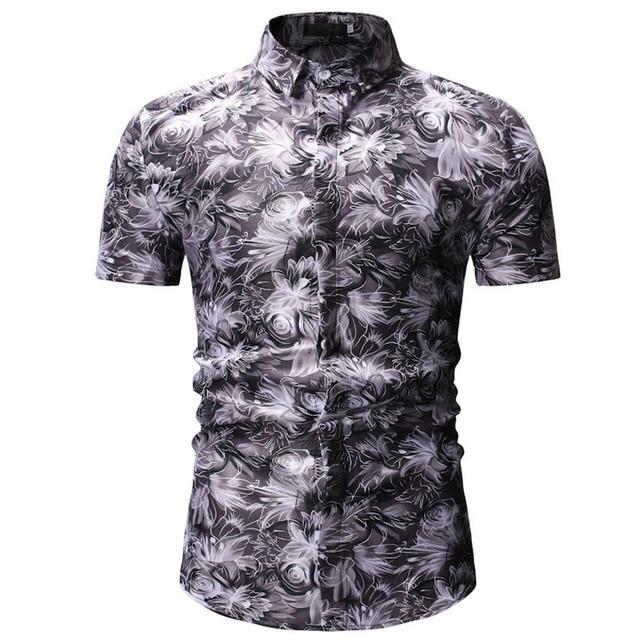 Mens Hawaiian Shirt Male Casual Camisa Masculina Printed Beach Shirts Short Sleeve Brand Clothing Free Shipping Asian Size 3XL 2