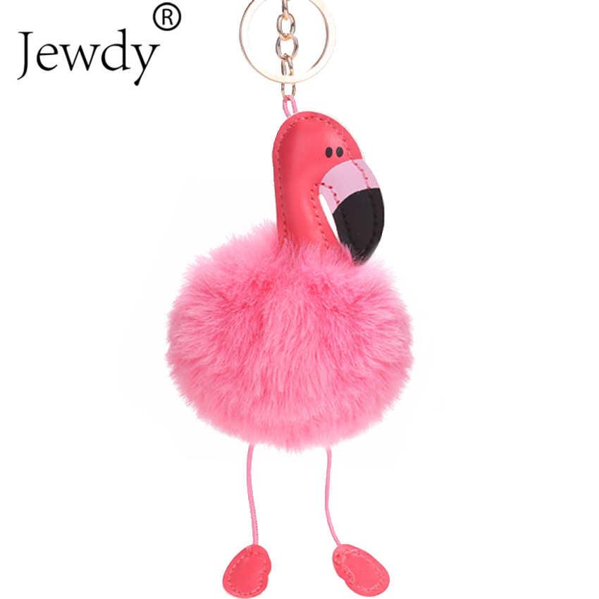 Fofo Flamingo Chaveiro Coelho Chaveiro Pompom Pom Pom Coelho da Mulher Fur Bag Encantos Chaveiros Carro Pingente de Chave Anel Titular jóias