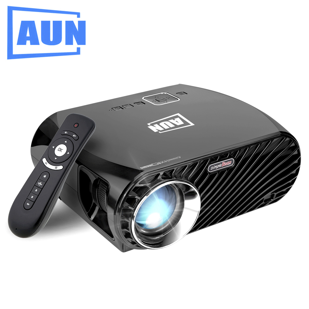 AUN SimpleBeamer Projector GP100 Pro, Set in Android 6.0.1, WIFI, Bluetooth. 1280*768, 3200 Lumens Beamer Suppor Full HD LED TV aun projector 3200 lumen t90 1280 768 optional android projector with 2 4g air mouse bluetooth wifi support kodi ac3 led tv