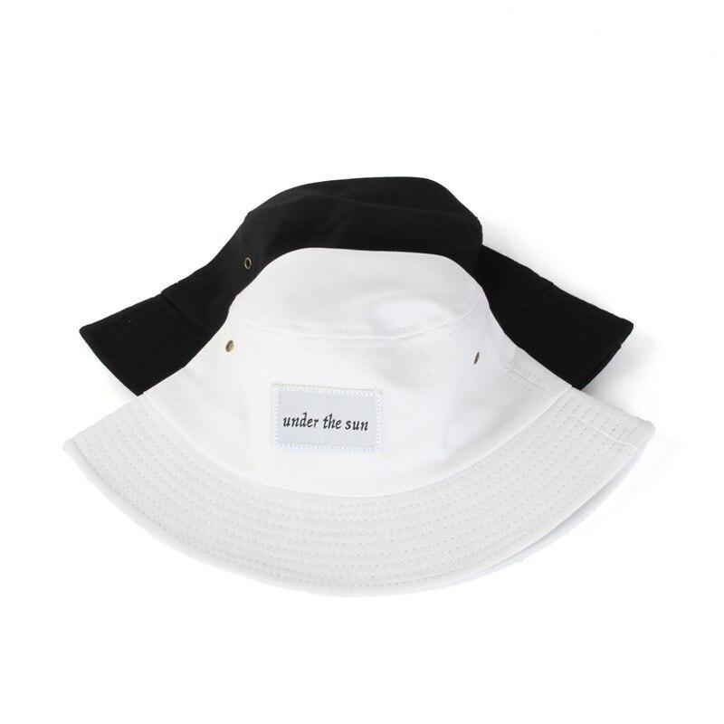 5cbcabebfa5 Black White Cotton Bucket Hats For Women Men Panama Solid Color Fisherman  Caps Summer Autumn Simple Hat on Aliexpress.com