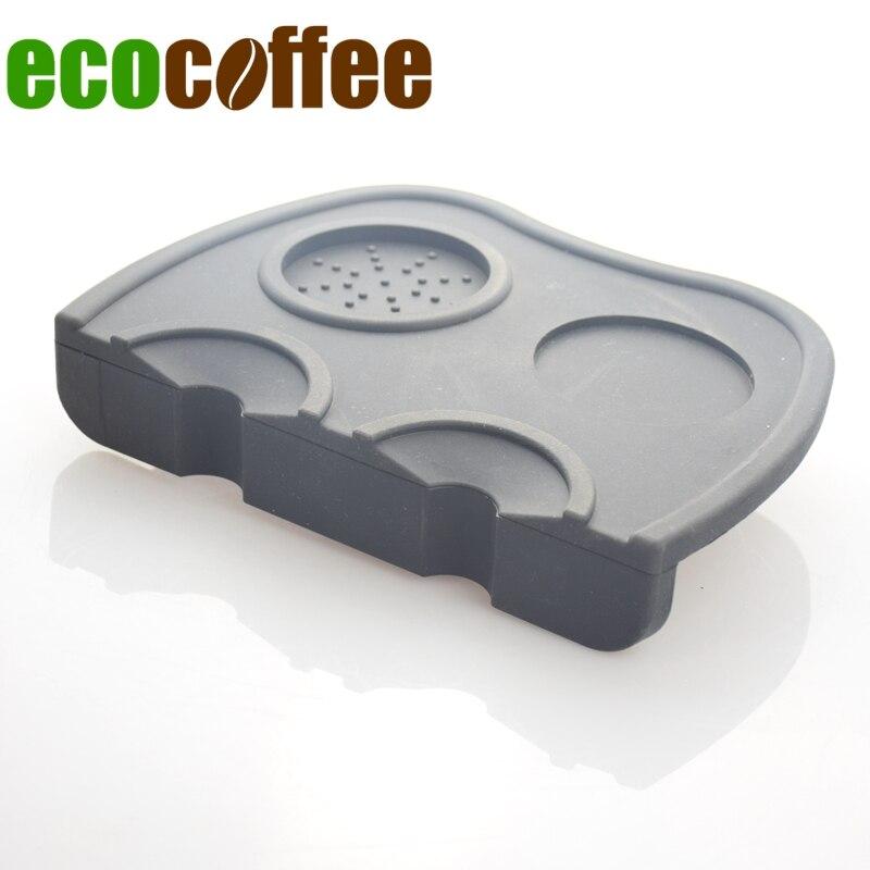 ECOCOFFEE 2018 Nouveau Silicone Espresso Coin Café Sabotage Tapis Café Noir/Brun Barista Tapis Pod Outils Plat Base Falsification accès