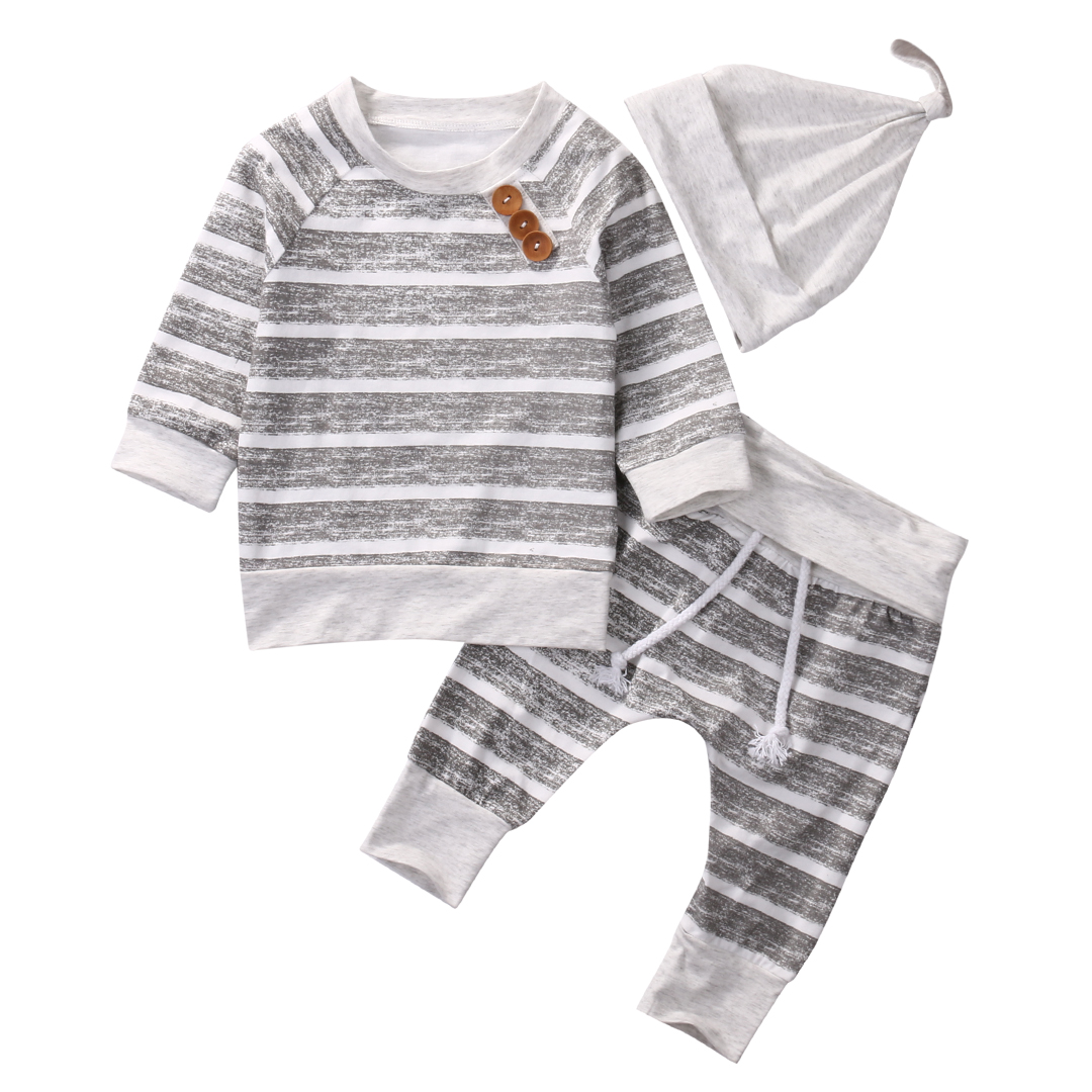 3pcs Newborn Infant Toddler Baby Boy Girls Kids Clothes Grey Striped long sleeve tops Shirts Legging pants Hat Outfit Set