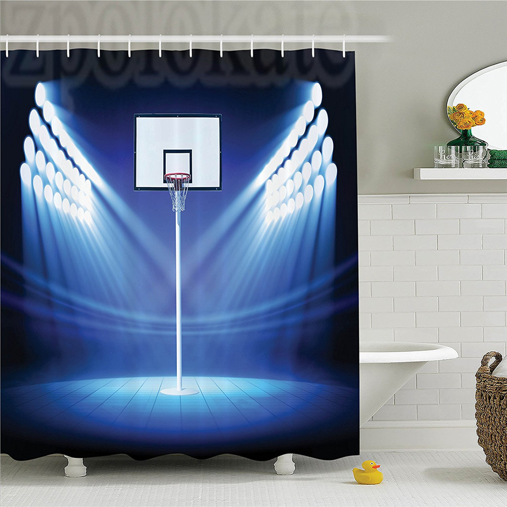 Sports Basketball Hoop with Spotlights Stage Field Stadium Shoot Score Victory Image Polyester Bathroom Shower Curtain Navy