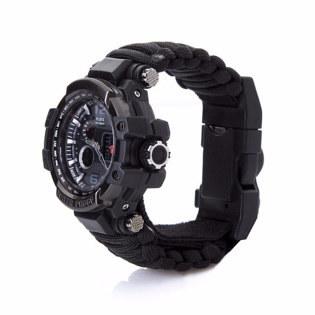 Outdoor Survival Paracord Watch Multifunctional Waterproof Military Tactical Paracord Watch Bracelet Camping Hiking Emergency
