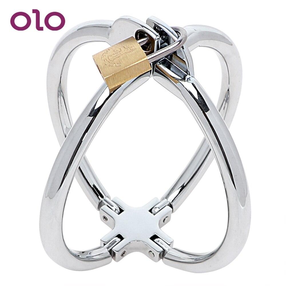OLO Adult Games SM Bondage  Fetish Sex Toys For Women Stainless Steel Cross Wrist Handcuffs Restraint Lockable