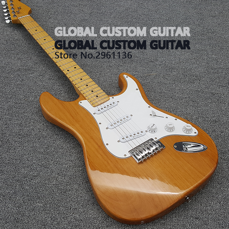 Alder body and maple finger,High quality st electric guitar,Light yellow is a white guard on the body,Real photos,free shipping! high quality hollow maple body nashville electric guitar with gold bigsby free shipping