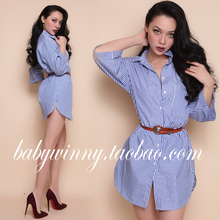 Free Shipping 2017 Spring New Women Shirts Street Shooting All Match Blue Stripes Single Breasted POLO Collar Loose Long Shirt