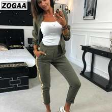 ZOGAA Fall Outfit Women 2019 Casual Tracksuit Women 2 Piece Set Top And Pants Sequined Patchwork Zipper Outwear Sexy Sweat Suit(China)