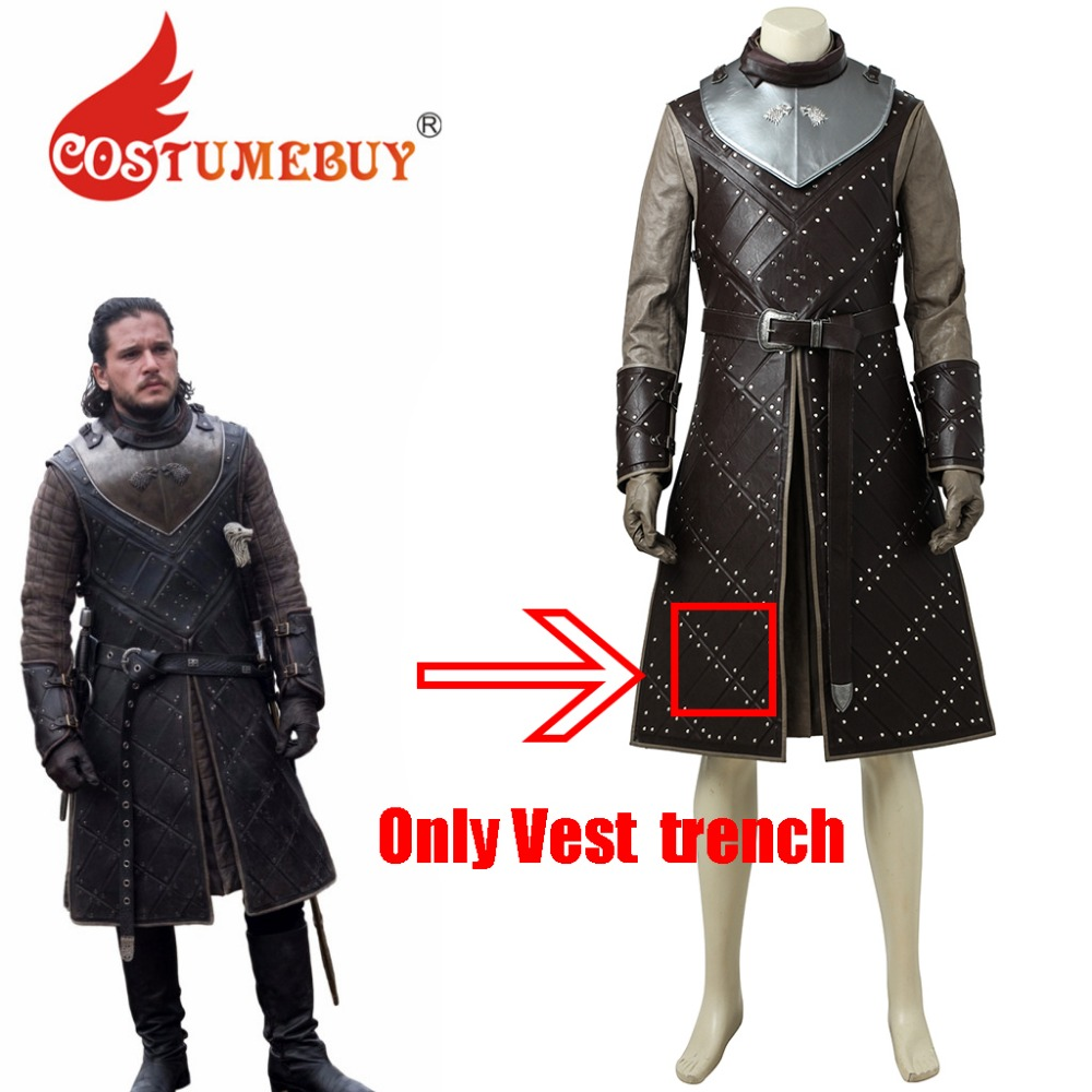 CostumeBuy Game of Thrones Season 7 Jon Snow Cosplay Long Trench Vest Jakcet Jon Snow Cosplay Costume L920