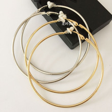 fashion big circle clip on earrings  the round earring female with cushion pad without piercing