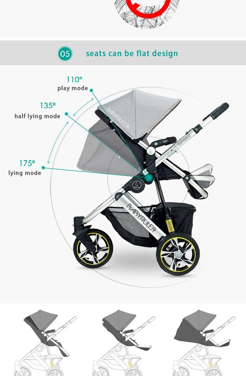 luxo dobrável carrinho de bebê 3 em