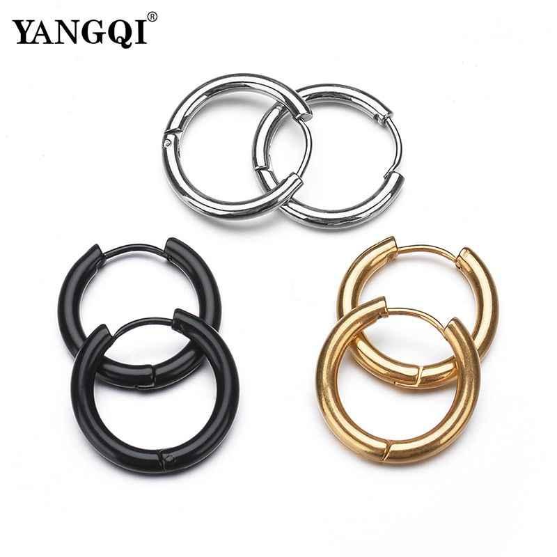 59049fa096b052 YANGQI Titanium Steel Hoop Earrings for Women Men Minimalism Design Round  Steel Earrings Gold Black Silver