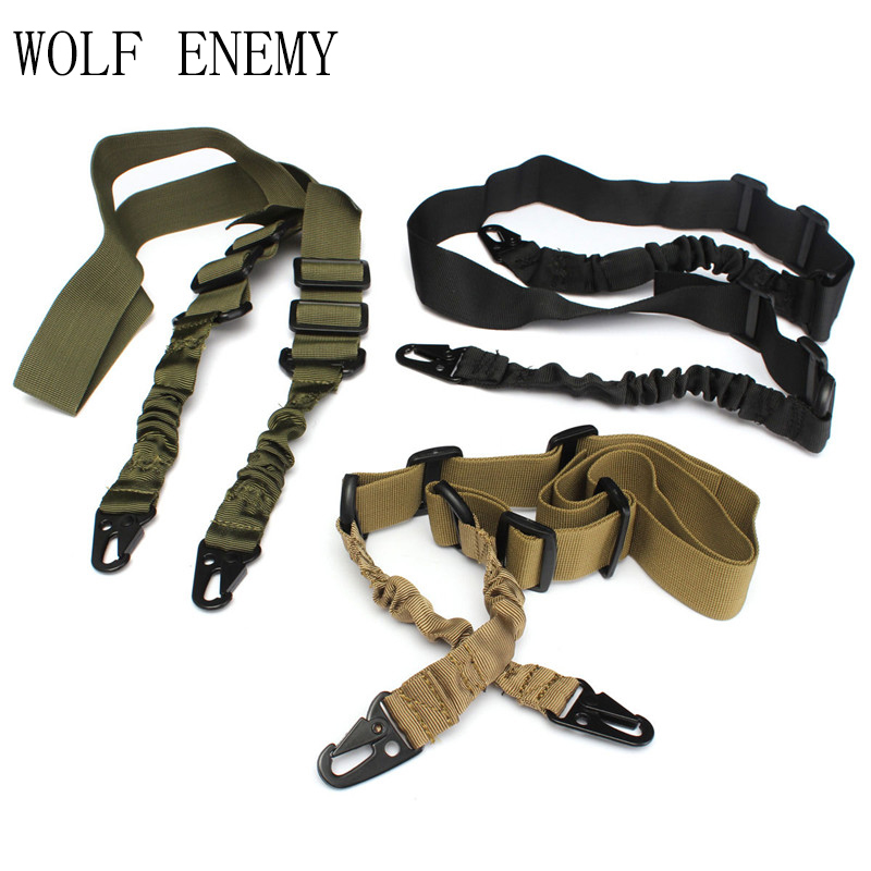 Army Green Black TAN Double Tactical Military Army Point Gun Sling for Wargame CS Equitment 2 Point Gun Rope Gun Accessories