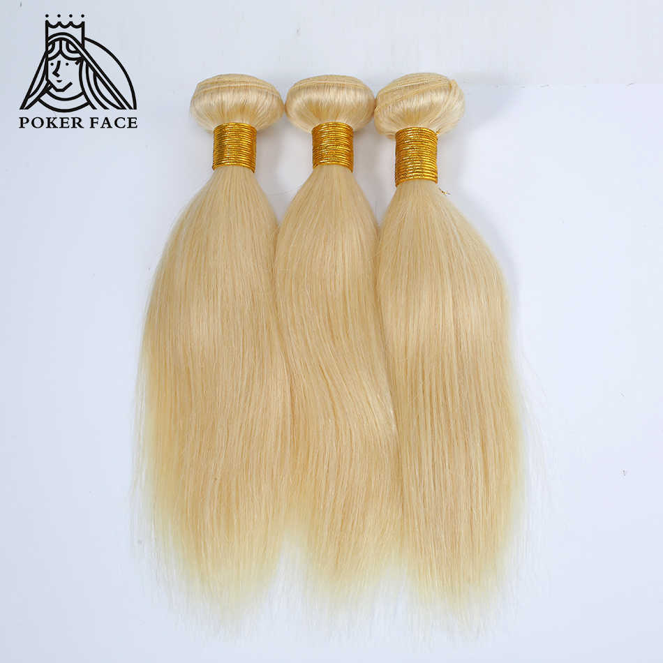 Poker Face 1 Or 3 Bundles #613 Blonde Straight Human Hair Weaves Indian Hair Bundle 8-30 Inch Remy Hair Extensions