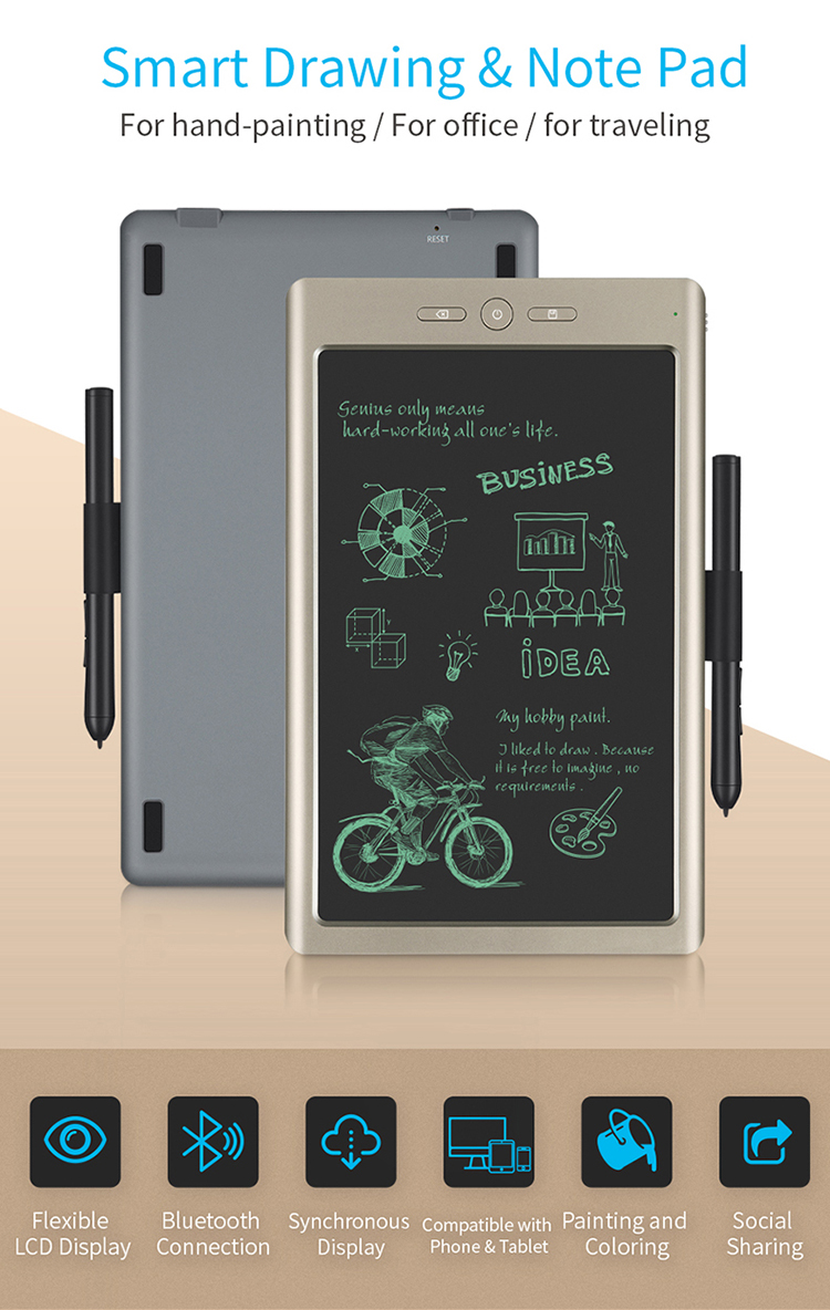 10 5 inch Smart Cloud digital graphic-drawing tablet (re-chargable, save  drawings to smart phone, tablet, laptop, USB, BT 4 2)
