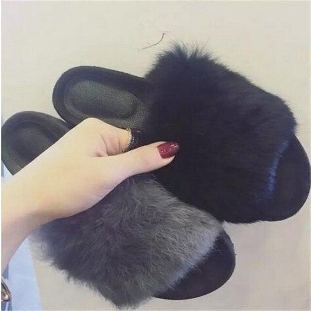 2016 осень зима женщины сандалии нечеткой плюшевые настоящий природный мех кролика слайды мулы тапочки Плоские тапочки обуви