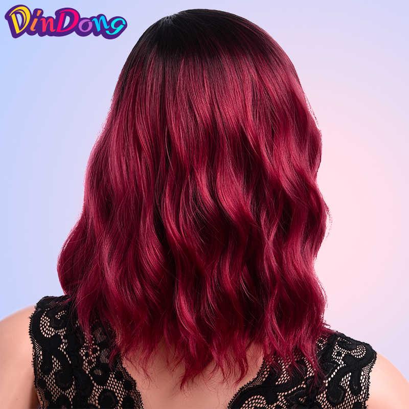DinDong косплей парик Короткие вьющиеся парики для женщин синтетические Омбре красные синие розовые парики афро-американские парики средней части