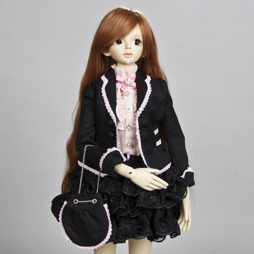 [wamami] 386# Black Suit/Dress 1/4 MSD DOD AOD Luts BJD Dollfie handsome grey woolen coat belt for bjd 1 3 sd10 sd13 sd17 uncle ssdf sd luts dod dz as doll clothes cmb107