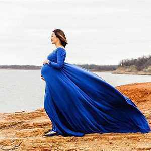 Image 1 - Cotton Pregnant Dresses For Women Maxi Maternity Gown Clothes For Photo Shoots 2019 Maternity Pregnancy Dress Photography Props