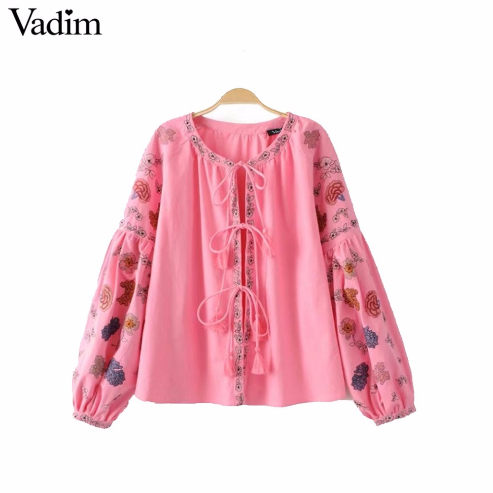 Vadim oversized floral embroidery loose jackets retro long