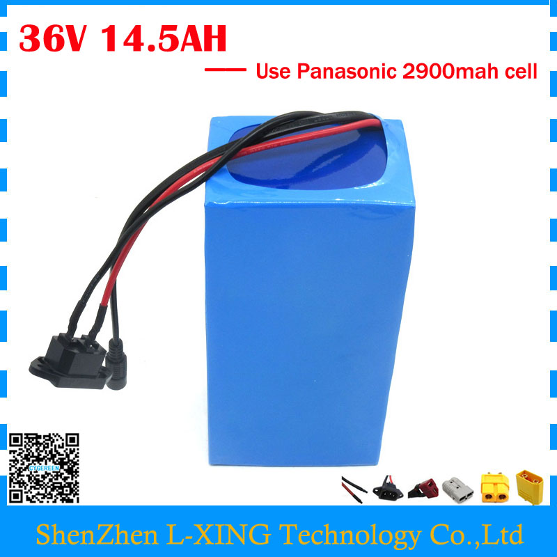 Фото Free customs fee 36V 14.5AH lithium battery 36V 14.5AH ebike battery use NCR18650PF 2900mah cell with 15A BMS 2A charger