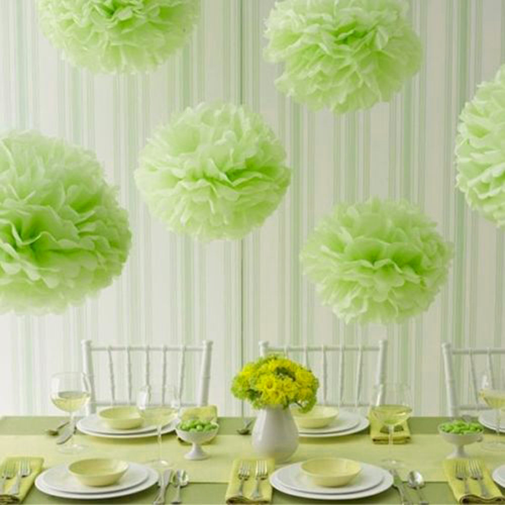 Apple decorations wedding - 15pcs 25cm 10inch Tissue Paper Wedding Party Decor Craft Paper Flower For Wedding Decoration Apple Green In Artificial Dried Flowers From Home Garden