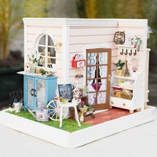 3D Wooden DIY Miniatura Dollhouse Happy Time Handmade Decorations Model with LED Light Best Gift For