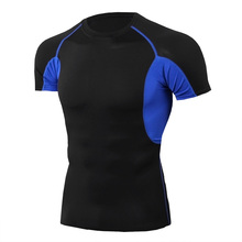 Men's Tight Short Sleeve T-shirt Male Fitness Exercise Running Training Elastic Quick Drying patchwork T-shirt Clothes