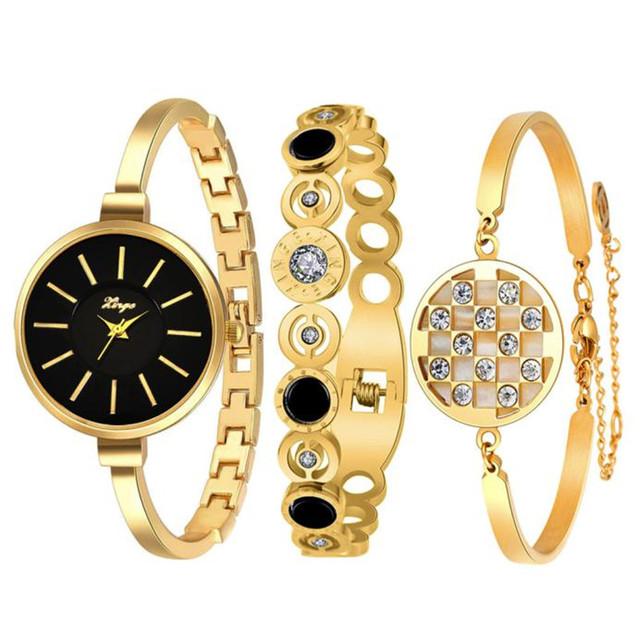 Mulheres de luxo Da Marca Pulseira Relógio Relógio de Strass Pulseira de Ouro E Pulseira Conjunto relógios das mulheres relógio de forma 2016 Feida