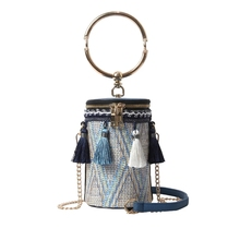 JUILE New Shoulder bag Women Ins super fire bohemian personality design big bracelet Messenger Bag tassel wild female handbag