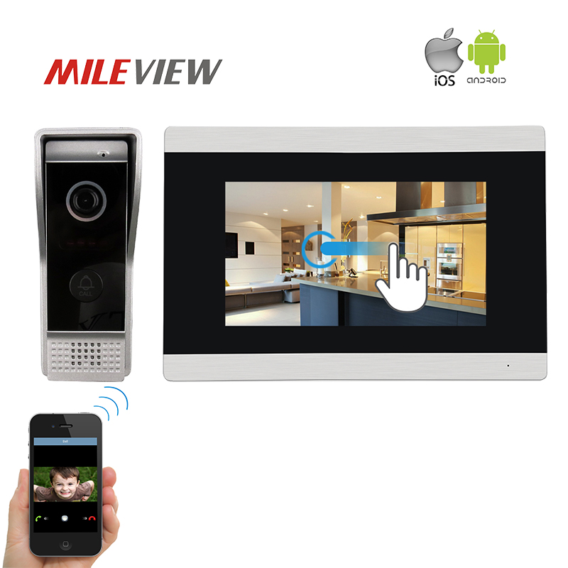 Free Shipping 1.0MP 720P AHD IP WIFI 7 Touch Screen LCD Video Intercom Door Phone Record Monitor Kit Support Android IOS Phone jeruan ip wifi 7 inch touch screen video doorbell intercom system kit 720p ahd record monitor ir coms camera support android ios