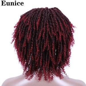 Image 3 - Short Synthetic Wigs For Women Eunice Hair 14 Soft Dreadlocks Hair Wig Ombre Black Bug Crochet Braids Wigs Heat Resistant Wigs