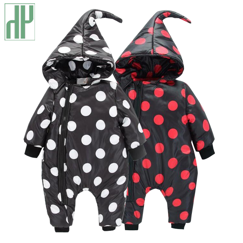 Baby Clothes winter Infant Romper Baby Boys Girls Jumpsuit newborn unisex polka dot Clothing Hooded Toddler Cute baby snowsuit baby romper sets for girls newborn infant bebe clothes toddler children clothes cotton girls jumpsuit clothes suit for 3 24m