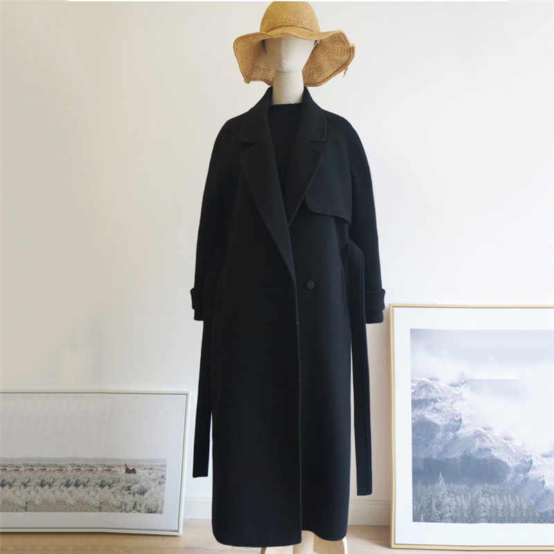 חורף נשים קשמיר צמר מעיל 2018 אופנה חדשה בינוני ארוך רופף צמר מעיל שחור slim ארוך שרוולים צמר הלבשה עליונה DT0175