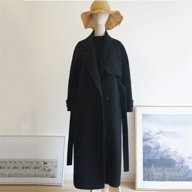 black Hiver Moyen Longues Cachemire Femmes Noir Black Manteau Veste Lâche Manches Survêtement Dt0175 Laine Long De Mince Mode Nouvelle À 2018 Thick rq1rw