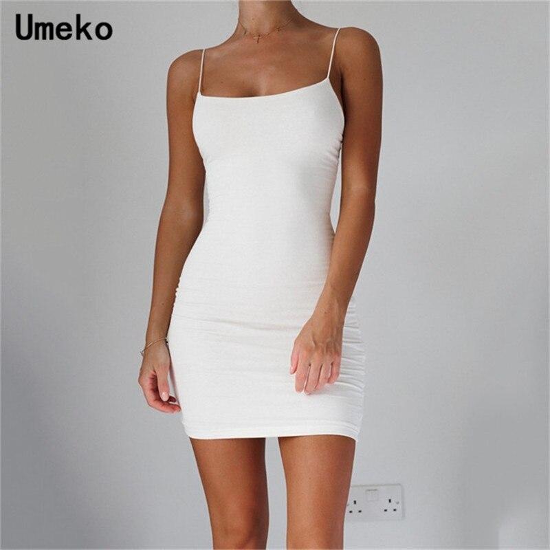 White Sexy Dress Women Spaghetti Strap Dresses Female High Waist Sheath Club Dress Short Summer 2019 Mini Sleeveless Vestidos