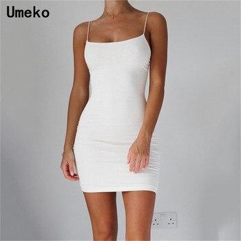 White Sexy Dress Women Spaghetti Strap Dresses Female High Waist Sheath Club Dress Short Summer 2019 Mini Sleeveless Vestidos mini asymmetrical zipper sheath dress