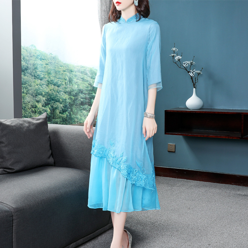 Top qualité marque chinois Robe 2019 printemps été femmes Organza broderie 3/4 manches grande taille Robe bleue Robe Femme Vestido - 3