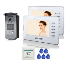 Cheapest prices Brand New 7 inch Color Apartment Video Door Phone intercom System 2 White Monitors 1 RFID Reader Door bell Camera FREE SHIPPING