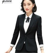 Blazer de negócios das mulheres roupas de moda nova primavera temperamento formal manga longa jaqueta fina senhora do escritório entrevista trabalho wear