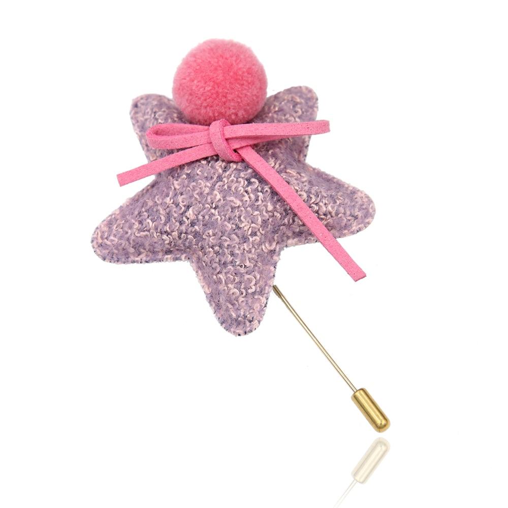 Pink Fabric Woolen Star Brooch Pin Fur Suit font b Women b font Fashion Jewelry Scarf