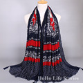 WAS6 180*100CM Fashion Retro print cashew women of scarves tassel muslim hijabs Longer section lady scarf Wrap lady scarves
