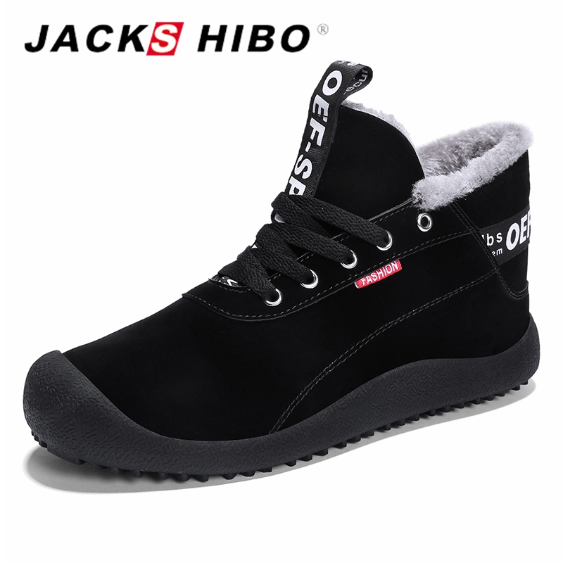 JACKSHIBO Brand Winter Shoes for Men Warm Footwear Big Size Mens Shoes with Fur High Top Mens Snow Boots Sneakers Shoes Casual 2018 winter fur warm male high top shoes adult flock sneakers men designer shoes casual flat plush walking brand footwear