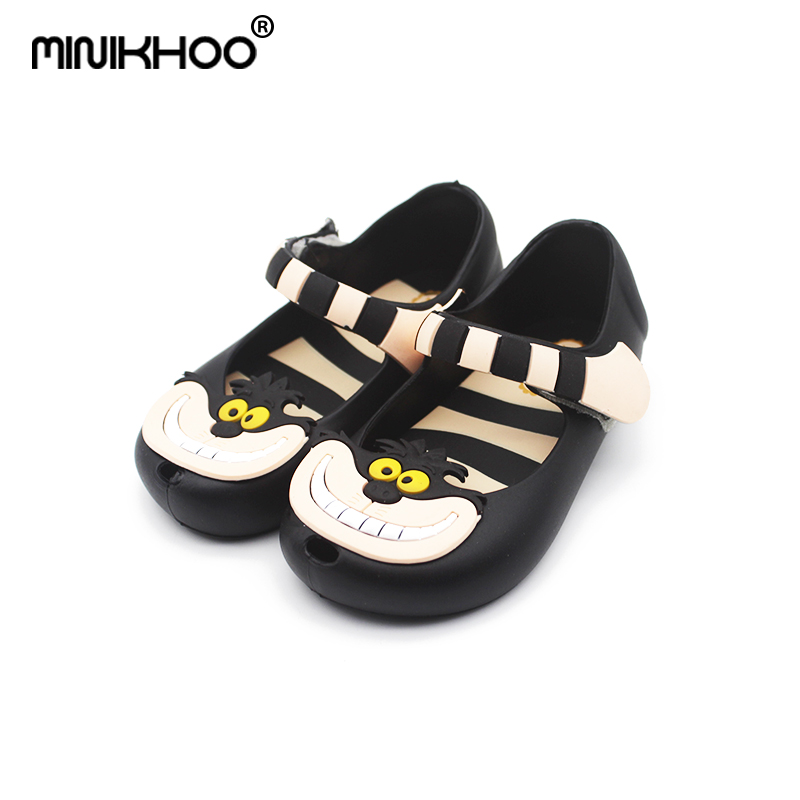 Mini Melissa Girls Sandals Alice In Wonderland Shoes Melissa Girls Sandals Cheshire Cat Smile Cat Sandals Beach High Quality