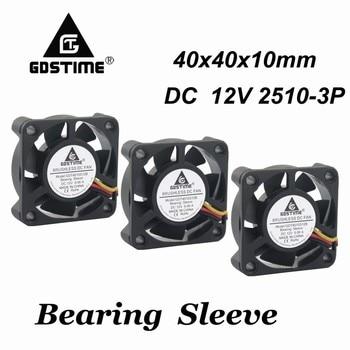 цена на 100 Pcs 4cm 40mm x 10mm DC 12V 3Pin Small Cooler Cooling Fan 40x40x10mm 3 Wire FG 4cm 4010