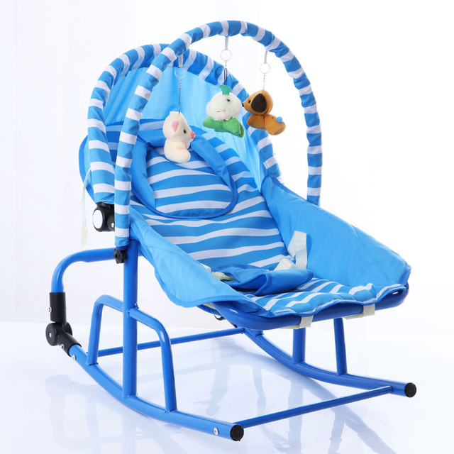 Newborn Baby Rocking Chair Comfort Toddler Cradle Deck Chair Sleeping Swing Lounge Chair Bouncers with Music Pillow Summer Mat 3